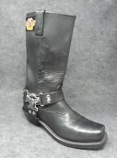 Harley Davidson Womens Black Leather Motorcycle Riding  Boots Size 9 Slip On