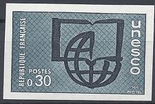 SERVICE N°37 UNESCO ESSAI COULEUR NON DENTELÉ GRIS/BLEU PROOF 1966 NEUF ** MNH