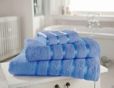 LUXURY TOWELS BLUE BALE SET SATIN STRIPE QUALITY COTTON YARN