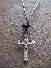 Cross Chain Men's New Leather Black Pendant Necklace Surfer Men