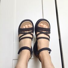 platform dark denim wedge sandals
