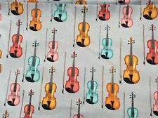 """colorful violin musical instrument cotton fabric 44""""w, sold BTY"""