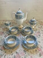Wedgwood China Turquoise Florentine Tea Service W2714 Cup Saucer Pot Cream Sugar