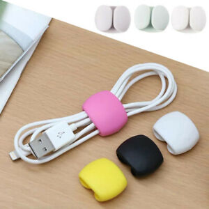 4pcs Desk Tidy Wire Cord Lead USB Organizer Earphone Charger Cable Clips Ties