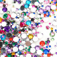 2000 Colourful Crystal Flat Back Rhinestones Diamante Gems Nail Art Crafts 2-6mm