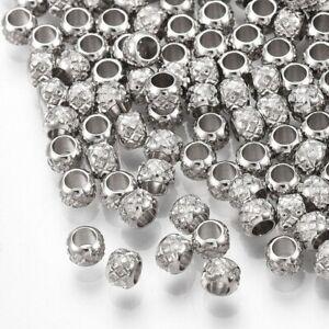 50Pcs 304 Stainless Steel Rondelle Beads for DIY Bracelet Earring Jewelry Making