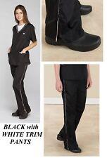 Black White Contrast Trim PANTS Groomer Grooming Hair&Water&Stain Resist Trouser