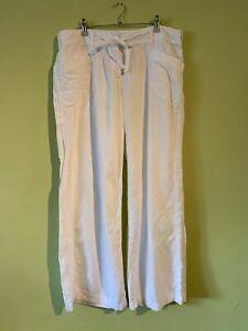 White Linen Next Trousers Size 16 Regular (A3813)