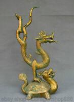 """17 """"Chine de cuivre doré Dynastie Feng Shui Dragon tortue Statue de la chance"""