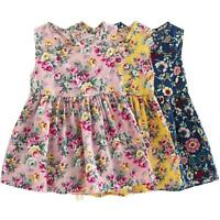 Summer 3-11Y Toddler Baby Girls Sleeveless Floral Princess Party Wedding Dress