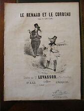 Partition Sheet Music 19 ème Siècle Le renard et le corbeau Lafontaine Levassor
