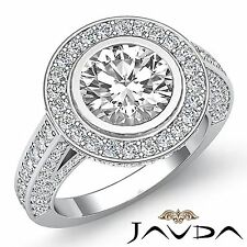 3.5ct Halo Round Diamond Engagement Vintage Style Ring GIA F VS2 14k White Gold