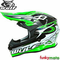 WULFSPORT SCEPTRE ADULTE MOTOCROSS MOTO DIRT QUAD ATV COURSES CASQUE VERT