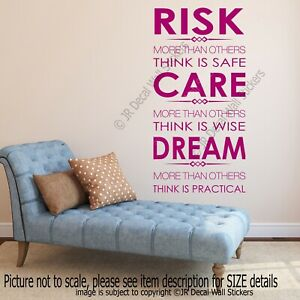 RISK, CARE, DREAM- Inspirational quotes stickers for walls, quote wall art,