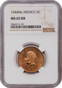 1944-MO MEXICO 5 CENTAVOS MS65 RB NGC ONLY 1 GRADED HIGHER