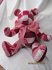 "Handmade TEDDY BEAR Red & White Valentine Movable Limbs 17"" Faceless"