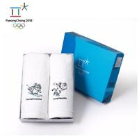 NEW Pyeongchang Winter Olympics Official Souvenirs Washcloth Towel 1 Set 2Ps
