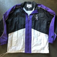 Men's Vintage 90's Starter Colorado Rockies Purple Black Windbreaker Jacket Sz L