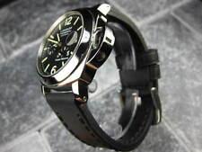 24mm NEW COW LEATHER STRAP Black Watch Band Black Stitch PANERAI 24