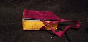 ANTIQUE VELVET AND SILK BOOK FORM SEWING PIN CUSHION NEEDLE CASE THIMBLE CASE
