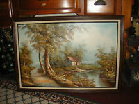 B. Fratello Signed Oil Painting On Canvas Hut House Water Trees Barn