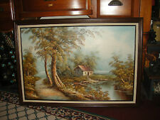 Stunning B. Fratello Signed Oil Painting On Canvas-Hut House Water Trees Barn
