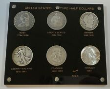 (6) Coin Set United States Type Half Dollars .50 in a Capital Holder