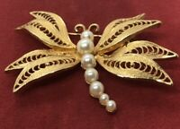 Vintage Brooch Pin Filigree Faux Pearls Butterfly Gold Tone