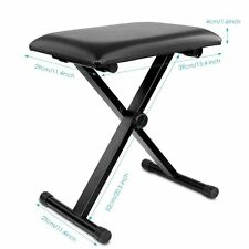 Piano Bench Stool 3-Position Height Adjustment Keyboard Bench with X-style Iron
