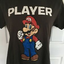 Super Mario Bros Player Crew Neck Black Novelty Graphic Print T-Shirt Size XL
