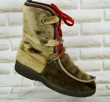 GERNA Reindeer Fur Womens Winter Snow Boots Lace-Up Ankle Shoes Size 6 UK 39 EU