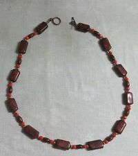 """Coppertone Metal Orange Glass Bead Brown Stone Bead 21.5"""" Toggle Clasp Necklace"""