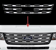 2016 2017 Ford Explorer Chrome Snap On Grille Overlays Front Grill Bars Covers