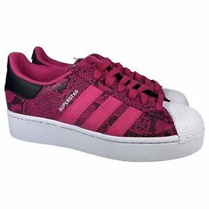 Adidas Superstar Bold W Snakeskin Pink Black Platform Shoes FW3696 Womens Sz 6.5