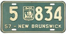 1957 New Brunswick License Plate #5-834 No Reserve