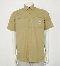 Carhartt Force Mandan Vented Brown Tech Button Shirt Mens Medium