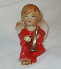 Cute Vtg Barefoot Boy Angel with Trumpet Figurine Japan Lefton?Napco?Commodore?