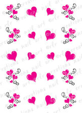 20 Nail Decals VALENTINE PINK HEART SWIRLS Water Slide Nail Art Decals HEARTS