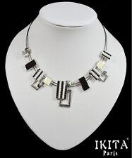 Luxus Kabel-Kette Halskette Ikita Paris Emaille Stein Glas Metall Versilbert