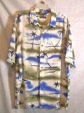 Nautica Hawaiian Camp Shirt Brown Blue Palm Trees SS Rayon Linen Raimie Large