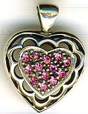 "925 Sterling Silver Pink Cubic Zirconia Heart Pendant Width 5/8""  17mm"