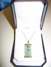 """10KT Green Jadeite Jade Necklace NWT!!! 20"""" 10kt chain w/ oriental 10kt letters"""