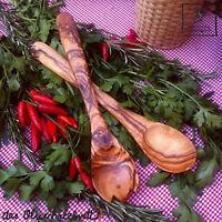 Salatbesteck Besteck Olivenholz Holz Servierbesteck Gabel Löffel handgemacht 35c