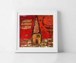 5x5 Print - Red Fairy House Print by Katie Jeanne Wood