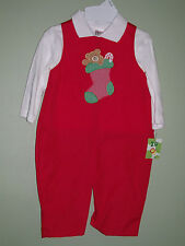 ZU by Petit Ami Christmas Stocking Bear Red Longall Romper Shirt  18 Months NWT