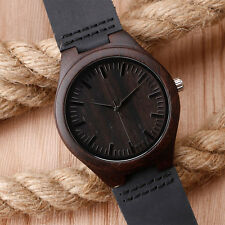 Mens Black Wooden Watch With Leather Strap Original Grain Wood Wrist Watches