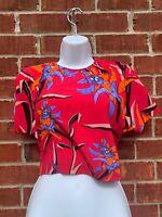 DVF Diane Von Furstenberg Cropped Top Floral Silk Blouse Pink 2XS Small Shirt