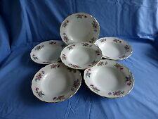 6 assiettes creuse en porcelaine de tchecoslovaquie,motif floral