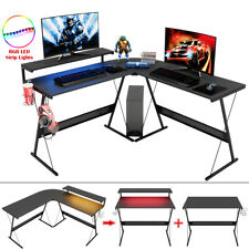 Computer Gaming Desk L Shaped Corner Pc Table With Led Rgb Home Office Workstation