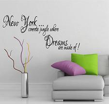 New York Song Lyrics Music Quote Dreams Jay Z Vinyl Sticker Wall Art Decor SQE9